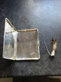 Cigarette case epns and silver mounted ptarmigan brooch