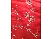 Scarlet voile with gold embroidery 5.24 m x 115 cm