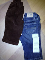 2 NEVER used pair of corduroy (Carters) jeans (Children's Place)