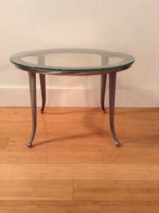 Oval Brushed Chrome and Glass Side table