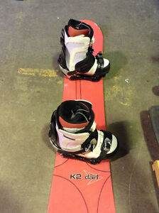 SNOWBOARD K2 DART with bindings $50 BOOTS Size 11 SALE!