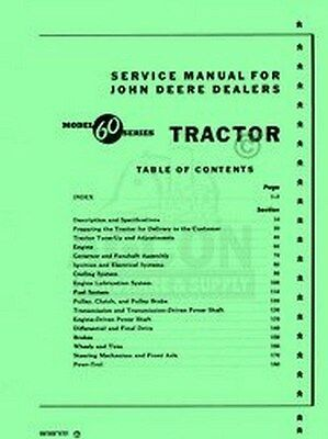 John Deere Model 60 Tractor Service Shop Repair Manual for sale  Shipping to India