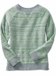 Old Navy kid's grey/green cable knit sweater Size 8 NWT