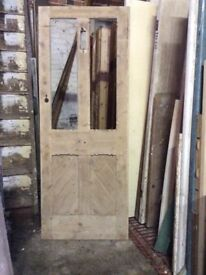 Door wood rebated for glass, sculpted styles & rails