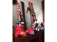 2 sets children's sets of skis and ski boots up to Uk size 1 rossignol, atomic Nordica