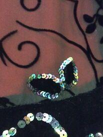 Stunning Brand New Silk Chiffon Embellished Devore Short Cape