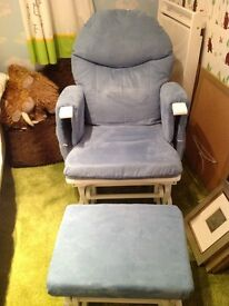 Habebe blue rocking chair and rocking stool
