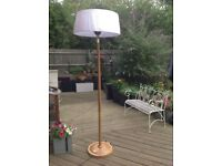 2.1kw lampshade heater with wood effect base and stand.