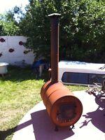 Barrel Wood Stove w/copper coil