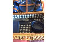 Wicker Picnic Basket with contents