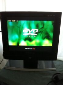 "Daewoo 15"" LCD tv with DVDplayer+ freeview box, aerial booster"
