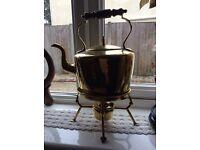 Vintage Brass ornamental kettle on heat trivet