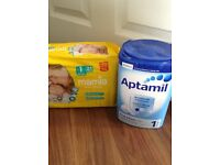 Free tub of aptamil and newborn nappies