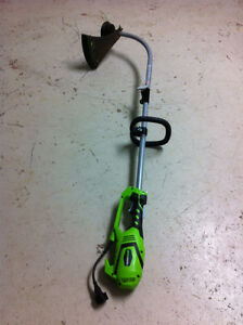 Greenworks 7.5A Electric Grass Trimmer, 15-in like new only $65