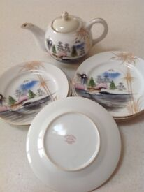Vintage Japanese hand painted tea pot and 6 side plates