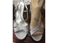 Silver Satin heeled shoes with real Swarovski crystals