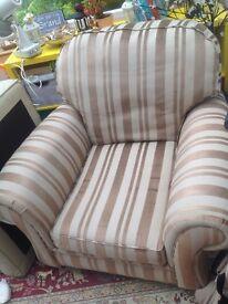 Armchairs x 2 Brown / Beige stripes