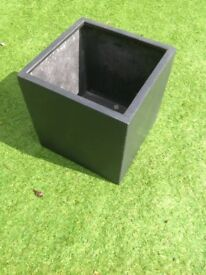 Black polystone 40cm cube planter