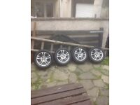 """Ford 15"""" alloy wheels with good tyres fiesta focus ka spares Peugeot citroen"""