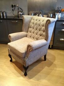 Grey next fabric vintage style antique Chesterfield armchair sofa comfy like new