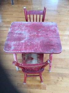 Child's 1950's table and 2 chairs