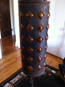 Mid Century Wrought Iron Amber Bubble Glass Swag Lamp 1960 Peterborough Peterborough Area image 3