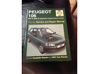 Haynes car manual for Peugeot 106 1991 to 2002 j reg onwards