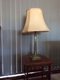 Brass table lamp with shade
