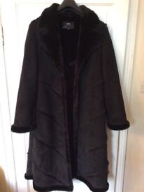 Long Faux sheepskin coat size 14 ( Per Una )