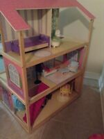 Complete three floor double sided doll house