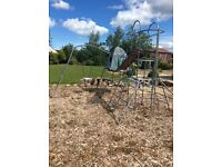 TP climbing frame set with swing, den, monkey bars and firemans pole