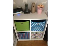 Kids/hall Storage unit with canvas boxes.