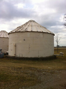 24 foot and 18 foot Grain Bins, both with aeration floor