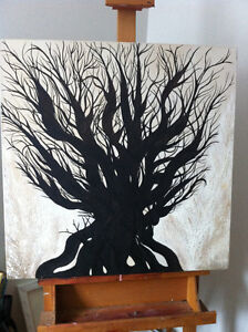 "Original Oil Painting Artwork Oak by Des Rosiers 30 x 30"" Peterborough Peterborough Area image 9"