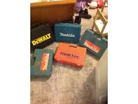 Bundle of makita and dewalt drill cases