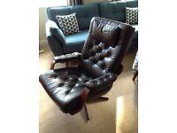Swedish Danish brown vintage retro leather swivel chair