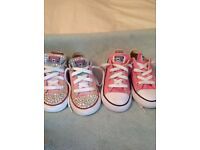 Girls size 8 converse one pair have been customised by blingderella