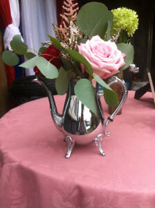 9 Silver Tea Pots and 2 candle holders