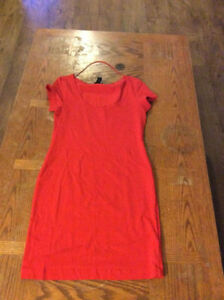 Orange Fitted Dress - Size Small