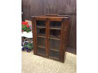 Dark wood glazed bookcase display unit