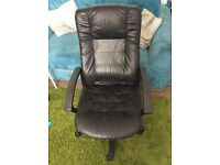 Large Black Leather desk / office chair
