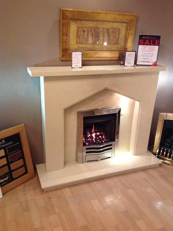 Plain Gothic III Complete Fireplace In Coral Cream Micromarble