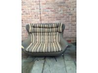 Original vintage retro egg bucket 2 seater chair sofa