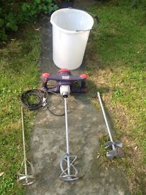 Sparky Professional Paddle Mixer with alternative paddles and mixing bucket.