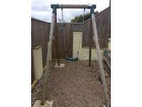 Plum wooden single swing/trapeze set