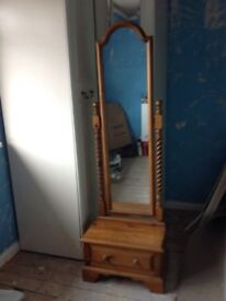 Antique pine floor standing mirror