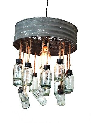 Riddle Sifter Chandelier Aged Round Metal Rim and Tiny Two Tier Light Mason Jars](Tiny Mason Jars)
