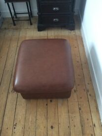 Leather look footstool with storage