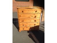 Solid pine five drawer chest of drawers telephone (07931) 670510 delivery possible