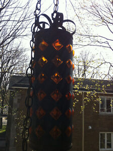 Mid Century Wrought Iron Amber Bubble Glass Swag Lamp 1960 Peterborough Peterborough Area image 8
